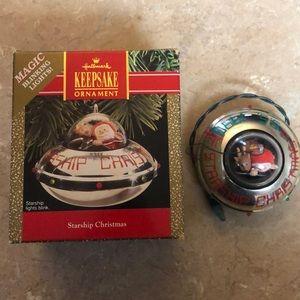 Vintage Hallmark Starship Christmas Ornament Blink